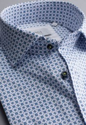 ETERNA LONG SLEEVE SHIRT MODERN FIT SOFT TAILORING TWILL BLUE/WHITE PRINTED
