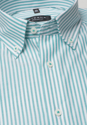 ETERNA LONG SLEEVE SHIRT COMFORT FIT OXFORD TURQUOISE / WHITE STRIPED