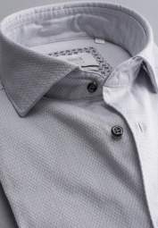 ETERNA LONG SLEEVE SHIRT MODERN FIT SOFT TAILORING TWILL SILVER GRAY STRUCTURED