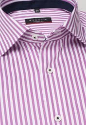 ETERNA LONG SLEEVE SHIRT MODERN FIT SATIN WEAVE PINK/WHITE STRIPED
