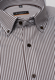 ETERNA LONG SLEEVE SHIRT SLIM FIT SATIN WEAVE BROWN / WHITE STRIPED