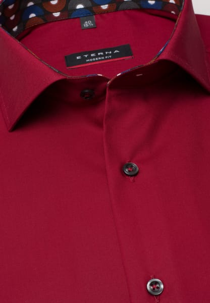 ETERNA LONG SLEEVE SHIRT MODERN FIT POPLIN RED UNI