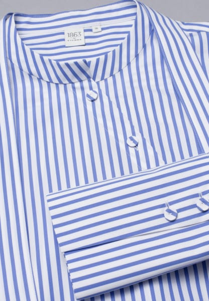 LONG SLEEVE BLOUSE 1863 BY ETERNA - PREMIUM POPLIN BLUE/WHITE STRIPED