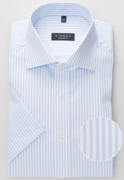 ETERNA HALF SLEEVE SHIRT COMFORT FIT PINPOINT IGHT BLUE / WHITE STRIPED
