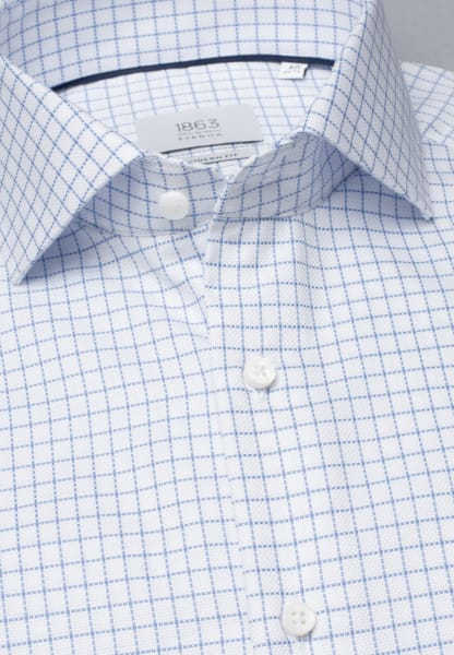 ETERNA LONG SLEEVE SHIRT MODERN FIT FANCY WEAVE LIGHT BLUE / WHITE CHECKED