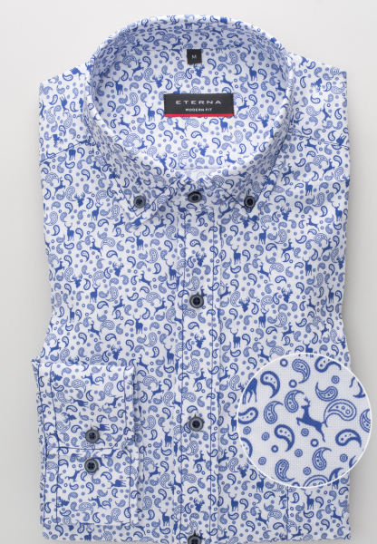 ETERNA LONG SLEEVE SHIRT MODERN FIT OXFORD BLUE/WHITE PRINTED