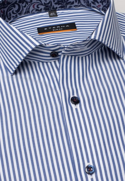 ETERNA LONG SLEEVE SHIRT SLIM FIT POPLIN BLUE/WHITE STRIPED