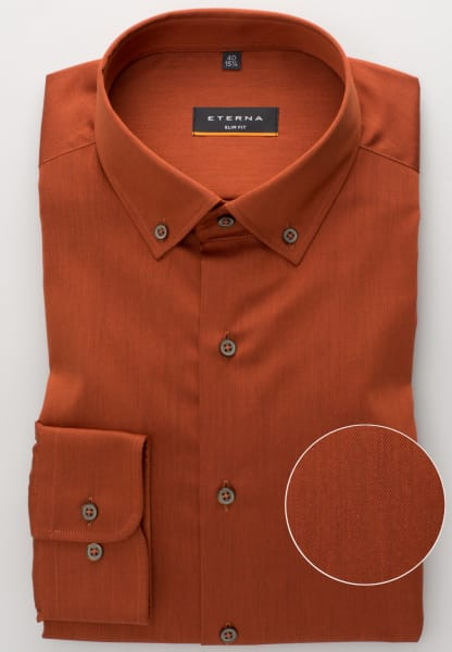 ETERNA LONG SLEEVE SHIRT SLIM FIT TWILL RUST RED UNI