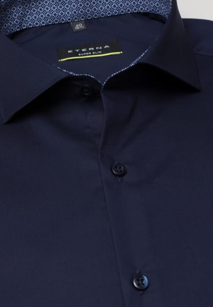 ETERNA LONG SLEEVE SHIRT SUPER-SLIM STRETCH NAVY BLUE UNI