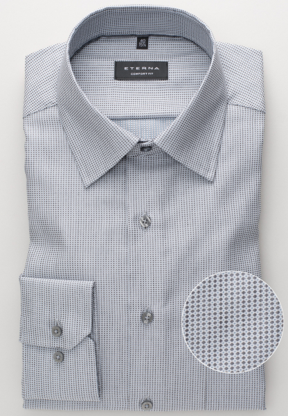 ETERNA LONG SLEEVE SHIRT COMFORT FIT FANCY WEAVE GREY STRUCTURED