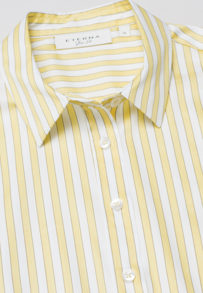 ETERNA WITHOUT SLEEVES BLOUSE SLIM FIT YELLOW /WHITE STRIPED