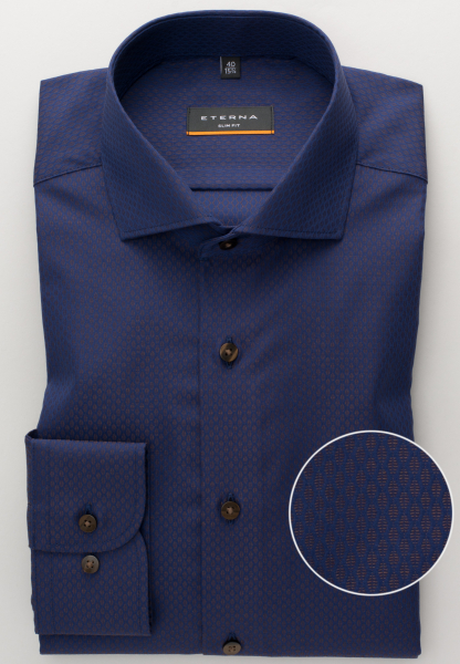 ETERNA LONG SLEEVE SHIRT SLIM FIT TEXTURED WEAVE BLUE/BROWN PATTERNED