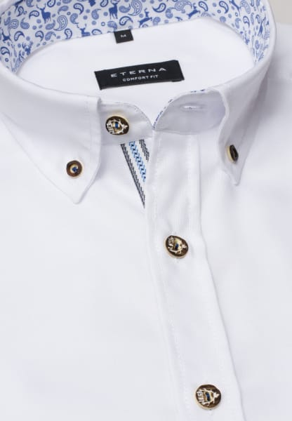ETERNA LONG SLEEVE SHIRT COMFORT FIT OXFORD WHITE<BR> UNI