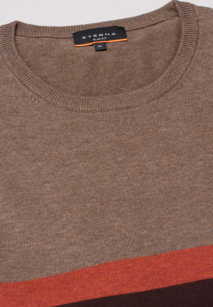 ETERNA KNIT SWEATER WITH ROUND NECK BROWN / GINGER / BEIGE STRIPED