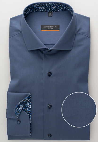 ETERNA LONG SLEEVE SHIRT SLIM FIT STRETCH NAVY UNI