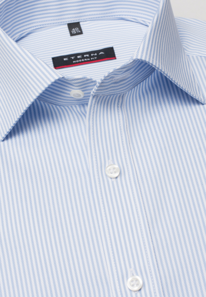 ETERNA LONG SLEEVE SHIRT MODERN FIT HERRINGBONE LIGHT BLUE STRIPED