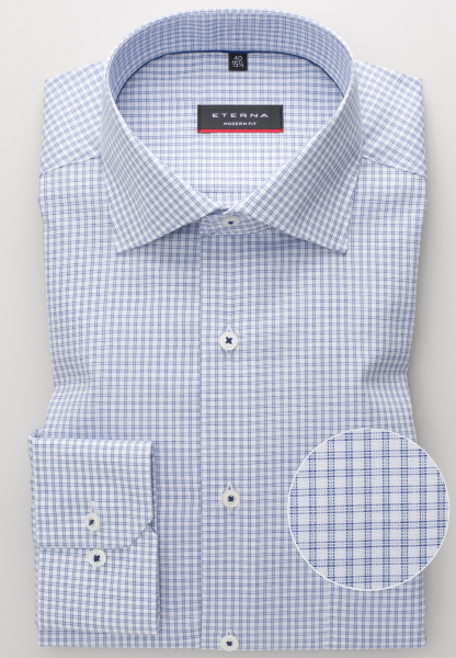 ETERNA LONG SLEEVE SHIRT MODERN FIT PINPOINT BLUE CHECKED