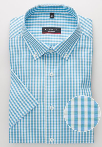 ETERNA HALF SLEEVE SHIRT MODERN FIT POPLIN TURQUOISE / WHITE CHECKED