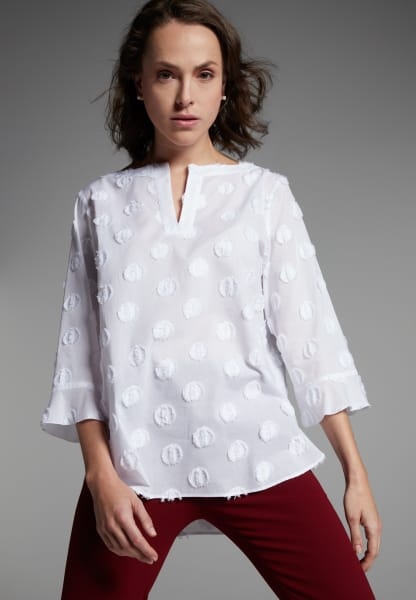 3/4 SLEEVE BLOUSE 1863 BY ETERNA - PREMIUM FIL COUPÉ WHITE
