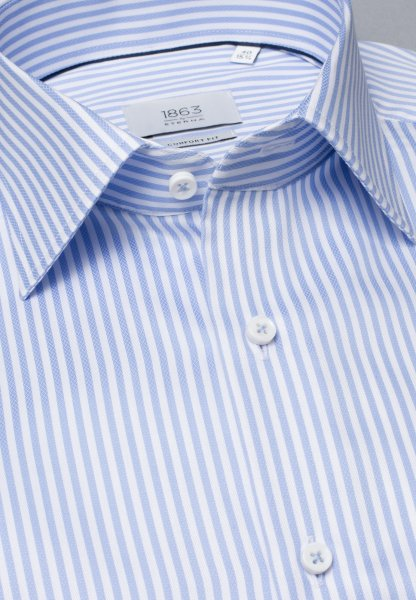 ETERNA LONG SLEEVE SHIRT COMFORT FIT FANCY WEAVE LIGHT BLUE / WHITE STRIPED