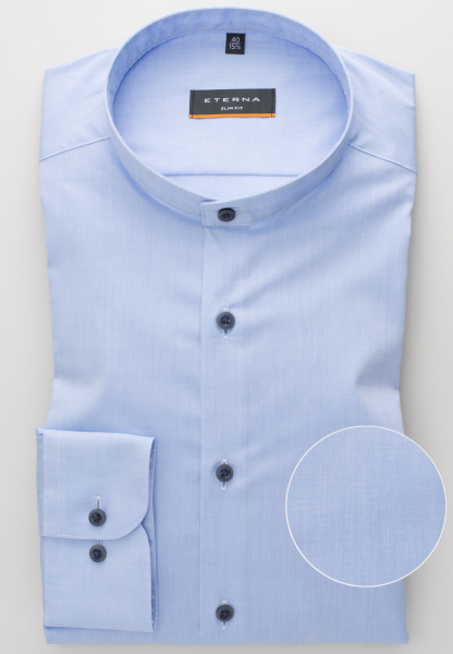 ETERNA LONG SLEEVE SHIRT SLIM FIT STRETCH BLUE UNI