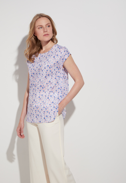 ETERNA WITHOUT SLEEVES BLOUSE MODERN CLASSIC POPLIN BLUE PRINTED