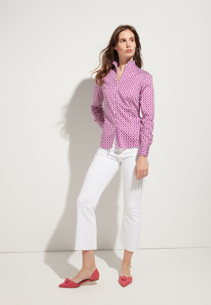 ETERNA LONG SLEEVE BLOUSE MODERN CLASSIC PINK PRINTED