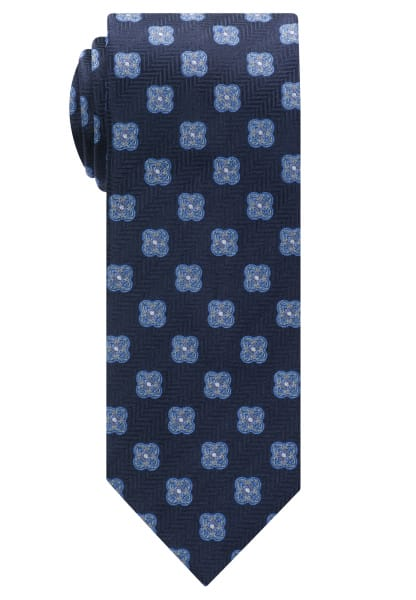 ETERNA TIE NAVY BLUE PATTERNED