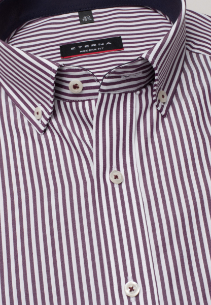 ETERNA LONG SLEEVE SHIRT MODERN FIT POPLIN WINE RED / WHITE STRIPED