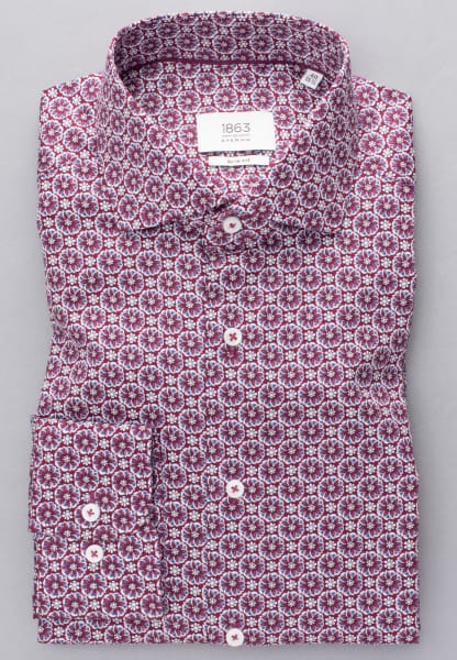 ETERNA LONG SLEEVE SHIRT SLIM FIT TWILL WINE RED / WHITE PRINTED