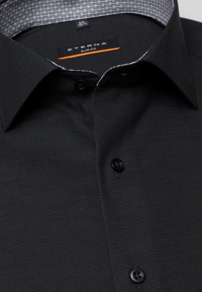 ETERNA LONG SLEEVE SHIRT SLIM FIT FANCY WEAVE BLACK UNI