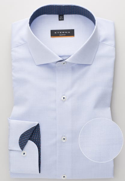 ETERNA LONG SLEEVE SHIRT SLIM FIT FANCY WEAVE LIGHT BLUE UNI