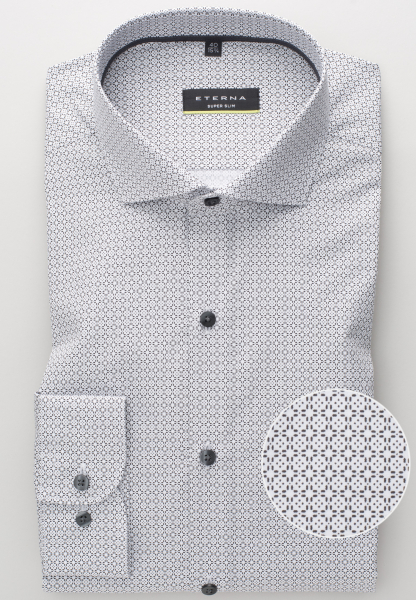 ETERNA LONG SLEEVE SHIRT SUPER-SLIM POPLIN GREY PRINTED