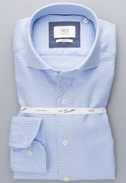 ETERNA LONG SLEEVE SHIRT SLIM FIT TWILL LIGHT BLUE / WHITE CHECKED
