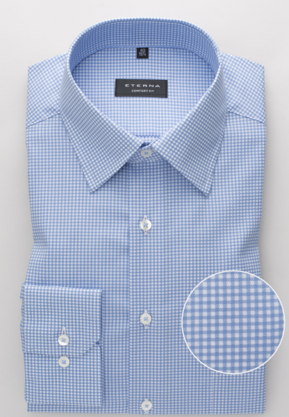 ETERNA LONG SLEEVE SHIRT COMFORT FIT TEXTURED WEAVE LIGHT BLUE / WHITE CHECKED