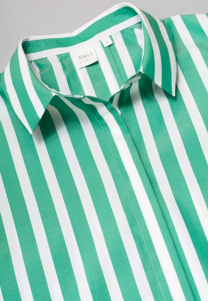 WITHOUT SLEEVES BLOUSE 1863 BY ETERNA - PREMIUM POPLIN GREEN/WHITE STRIPED