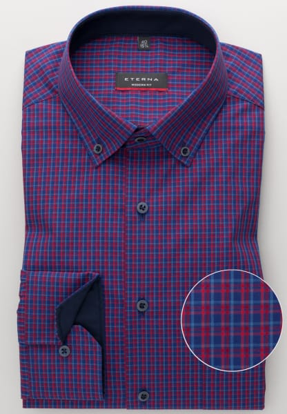 ETERNA LONG SLEEVE SHIRT MODERN FIT POPLIN RED/BLUE CHECKED