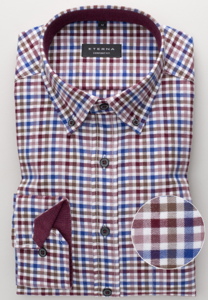 ETERNA LONG SLEEVE SHIRT COMFORT FIT FLANEL WINE RED / BLUE CHECKED