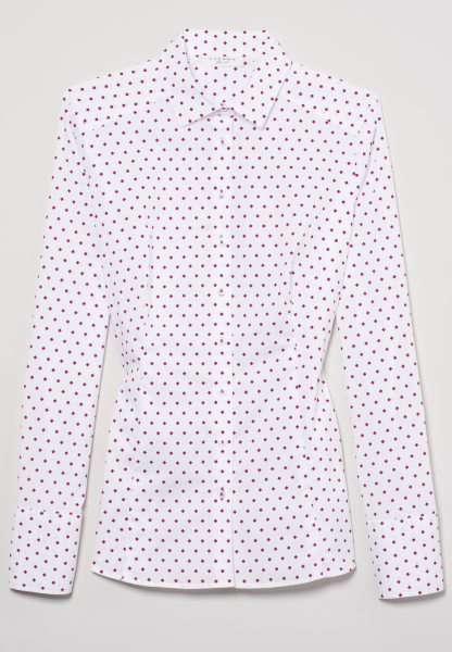 ETERNA LONG SLEEVE BLOUSE SLIM FIT STRETCH FUCHSIA / WHITE PRINTED