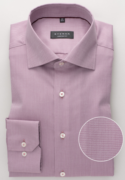 ETERNA LONG SLEEVE SHIRT COMFORT FIT TWILL BORDEAUX STRUCTURED