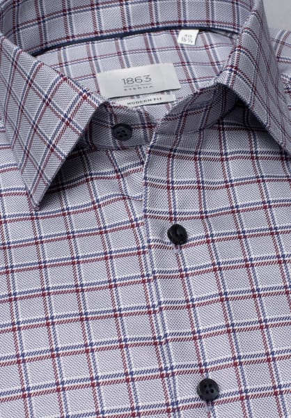 ETERNA LONG SLEEVE SHIRT MODERN FIT TWILL WINE RED / BEIGE STRUCTURED