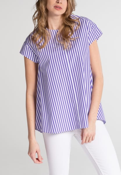 HALF SLEEVE BLOUSE 1863 BY ETERNA - PREMIUM POPLIN PURPLE STRIPED