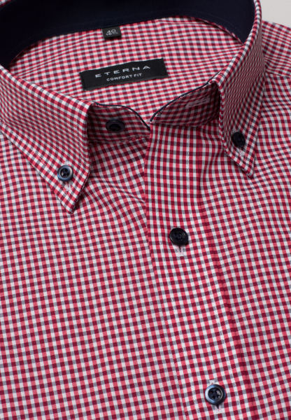 ETERNA HALF SLEEVE SHIRT COMFORT FIT POPLIN RED/WHITE CHECKED