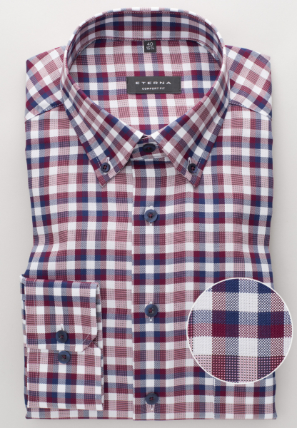 ETERNA LONG SLEEVE SHIRT COMFORT FIT OXFORD BORDEAUX CHECKED