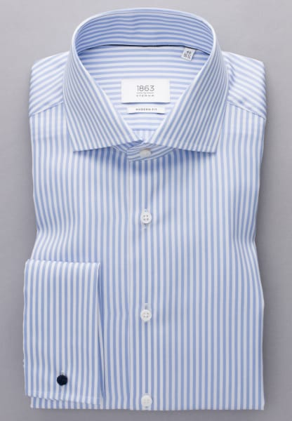 ETERNA LONG SLEEVE SHIRT MODERN FIT FANCY WEAVE LIGHT BLUE / WHITE STRIPED