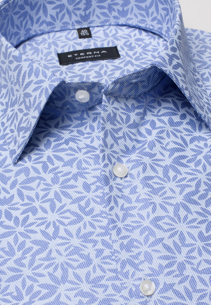ETERNA LONG SLEEVE SHIRT COMFORT FIT POPLIN BLUE / LIGHT BLUE PRINTED