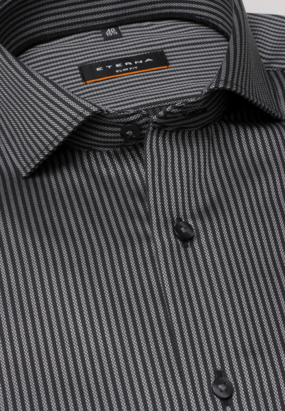 ETERNA LONG SLEEVE SHIRT SLIM FIT FANCY WEAVE BLACK / GREY STRIPED
