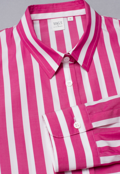 LONG SLEEVE BLOUSE 1863 BY ETERNA - PREMIUM POPLIN PINK/WHITE STRIPED