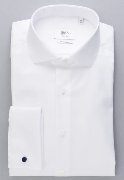 ETERNA LONG SLEEVE SHIRT MODERN FIT HERRINGBONE WHITE UNI