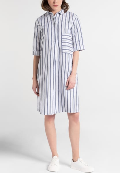 3/4 SLEEVE SHIRTDRESS 1863 BY ETERNA - PREMIUM BLUE/WHITE STRIPED